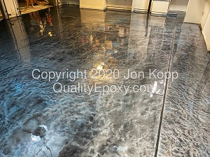 Quality Metallic Epoxy Floor with Quicksilver, Tahoe Blue, Onyx Colors