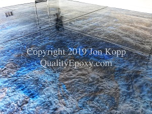 Quality Metallic Epoxy Floor with Tahoe Blue, Quicksilver Colors
