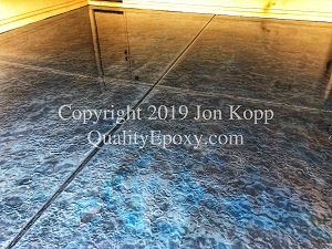 Quality Metallic Epoxy Floor with Tahoe Blue, Quicksilver, Black Colors