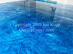 Quality Metallic Epoxy Floor with Tahoe Blue, Turquoise, Pearl Colors