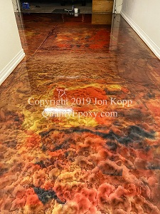 Quality Metallic Epoxy Floor with Merlot, Mayan Gold, Black Colors