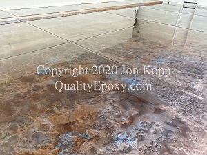 Quality Metallic Epoxy Floor with Burleywood, Quicksilver Colors