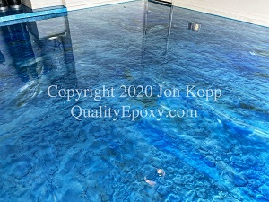 Quality Metallic Epoxy Floor with Tahoe Blue, Teal, Pearl Colors