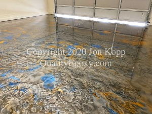 Quality Metallic Epoxy Floor with Quicksilver, Tahoe Blue, Sunfire Colors