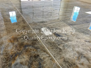 Quality Metallic Epoxy Floor with Sterling, Denim, Mayan Gold Colors