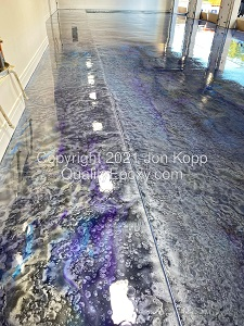 Quality Metallic Epoxy Floor with Quicksilver TahoeBlue Grape Onyx Colors