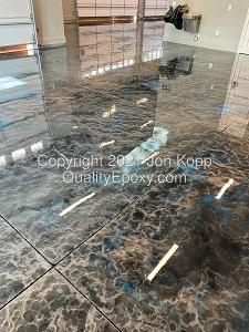 Quality Metallic Epoxy Floor with Quicksilver, Tahoe Blue, Onyx Colors