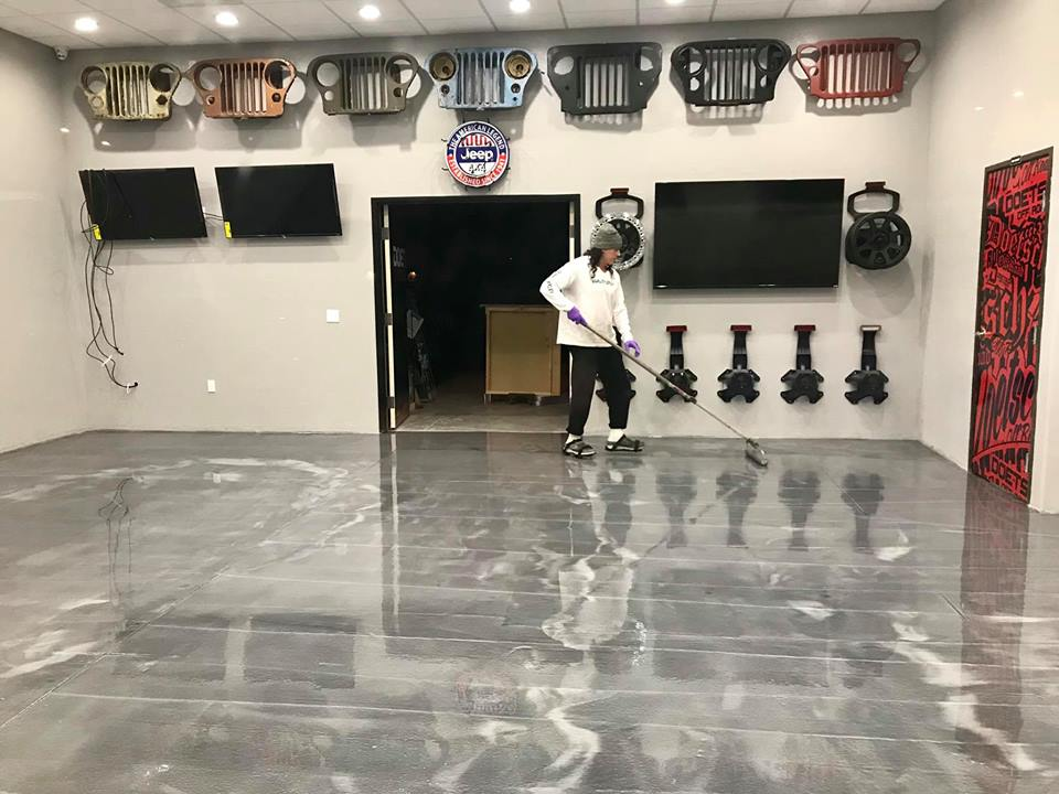 Quality Metallic Epoxy Floor at Doetsch Off-Road Custom Jeep Parts and Accessories
