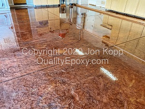 Quality Metallic Epoxy Floor with Burlywood, Copper, Mayan Gold Colors