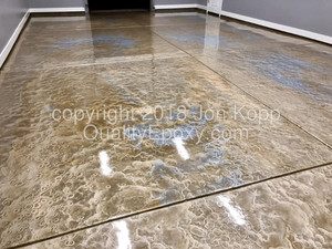 Quality Metallic Epoxy Floor with Sterling, Mayan Gold, Butterscotch Colors