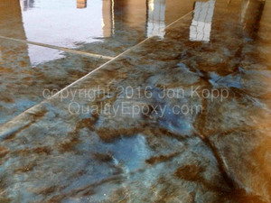 Quality Metallic Epoxy Floor with Caribbean Blue, Black Colors