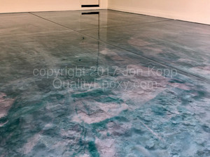 Quality Metallic Epoxy Floor with Sterling, Teal Colors