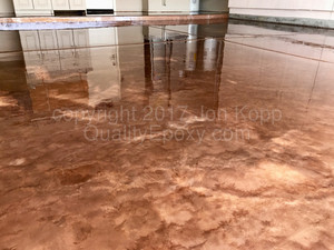Quality Metallic Epoxy Floor with Cappuccino, Butterscotch Colors