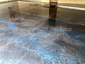 Quality Metallic Epoxy Floor with Cerulean Blue, Copper, Burlywood, Cocoa Colors