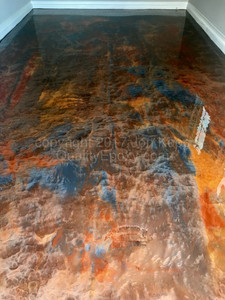 Quality Metallic Epoxy Floor with Quicksilver, Arizona Gold, Sunrise Colors