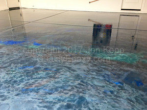 Quality Metallic Epoxy Floor with Teal, Quicksilver, Black Colors