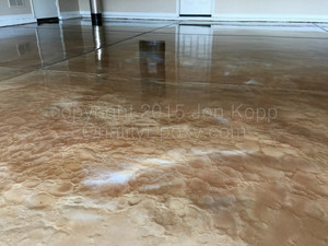 Quality Metallic Epoxy Floor with Butterscotch, Mayan Gold, Pearl Colors