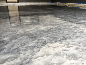 Quality Metallic Epoxy Floor with Quicksilver, Aluminum Colors