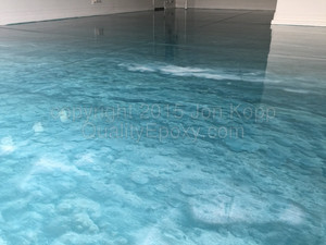 Quality Metallic Epoxy Floor with Teal, Pearl Colors
