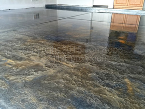 Quality Metallic Epoxy Floor with Jet Black, AZ Gold, Quicksilver Colors