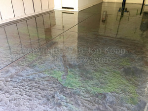 Quality Metallic Epoxy Floor with Quicksilver, Emerald Green, Steel Colors