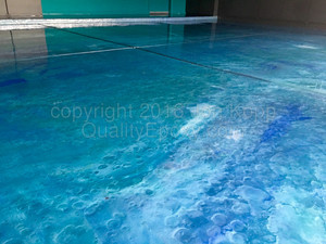 Quality Metallic Epoxy Floor with Caribbean blue, Teal, Pearl Colors