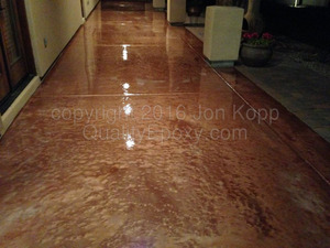 Quality Metallic Epoxy Patio Floor with Copper, Pearl Colors