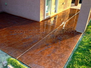 Quality Metallic Epoxy Patio Floor with Copper, Steal Colors