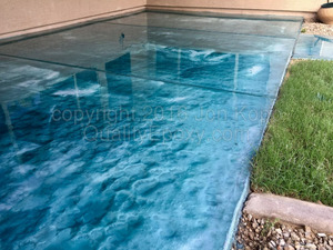 Quality Metallic Epoxy Patio Floor with Teal, Pearl Colors