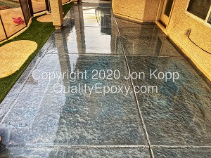 Quality Metallic Epoxy Patio Floor with Quicksilver, Galaxy Blue Colors