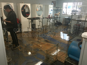 Quality Metallic Epoxy Floor at A Touch of Class Pet Grooming