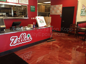 Quality Metallic Epoxy Floor at Zellas Pizza, Phoenix, AZ
